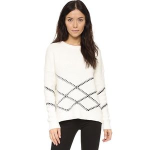 Vince Graphic Stitch Knit Cotton Blend Pullover